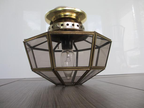 Brass & Glass Foyer Flush Mount Ceiling Light - 3 available