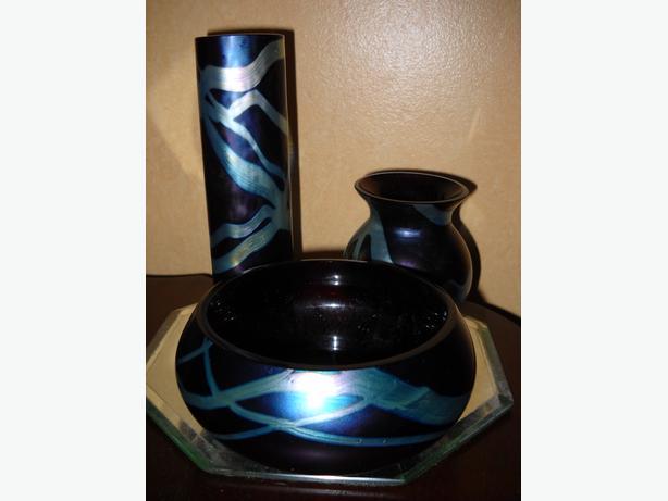 4U2C OKRA NIMBUS IRIDESCENT GLASS SET OF 3