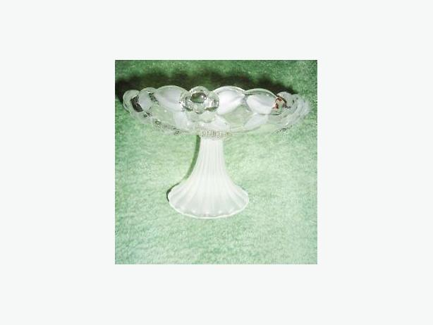 Small Footed Glass Candy / Nut Dish with Frosted Floral Motif