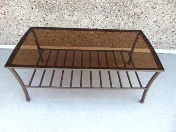 Outdoor Patio Deck Furniture Coffee Table Metal With Glass Top Victoria City Victoria