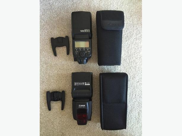 x2 Canon Speedlite 580EX II Flashes +wireless triggers & extras