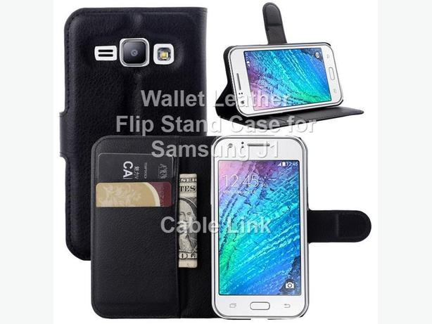 Wallet Folio Flip Stand Leather Case for Samsung J1