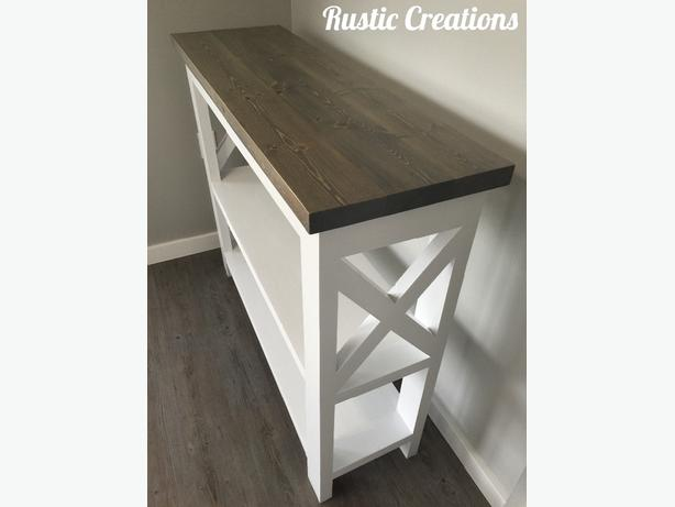 Rustic X-Framed Sofa Table