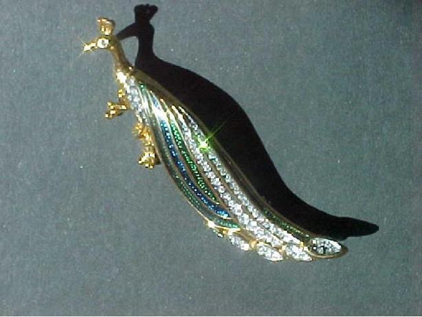 ENAMELLED PEACOCK BROOCH