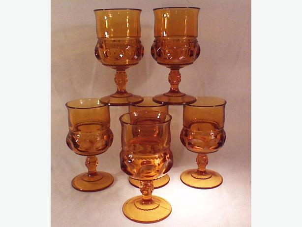 Indiana Glass Thumbprint amber water goblets