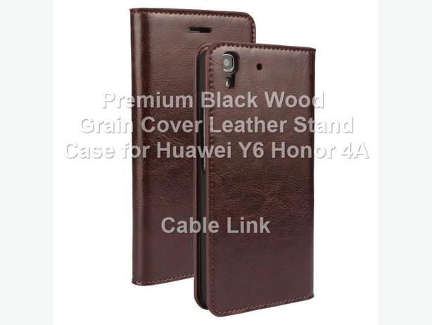 Premium Wood Grain Cover Wallet Leather Case for Huawei Y6