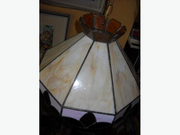 4U2C VINTAGE LEAD GLASS SWAG CHANDELIER or FLOOR LAMP SHADE