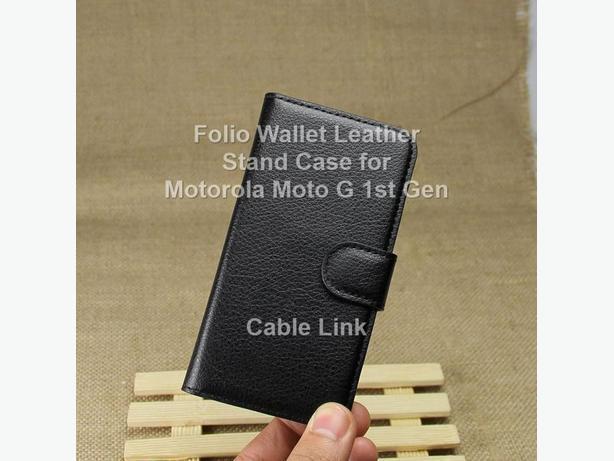 Folio Flip Leather Wallet Stand Case For Motorola Moto G 1st Gen