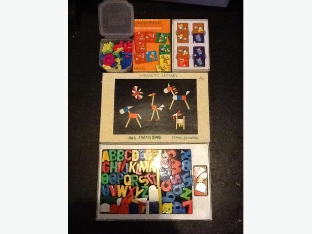 Magnetic Letters and Shapes Board, Disney Dominoes and Letter Pack Lot