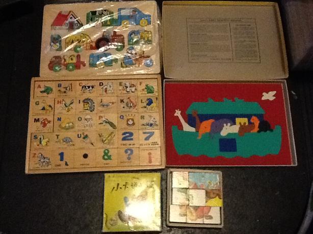2 Wooden Puzzles, Foam Puzzle, Block Puzzle and Clock.