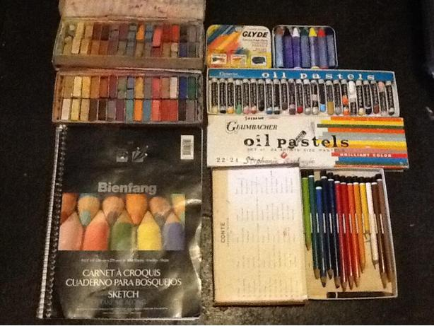 Large Lot of Pastels: Conte, Glyde and Grumbacher plus sketch book and more.