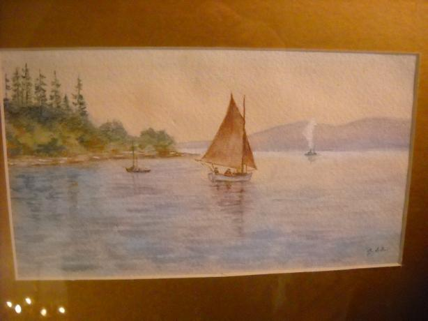 4u2c ANTIQUE WATERCOLOR, SAILBOAT ON GATINEAU RIVERHEAD CHASEO Q