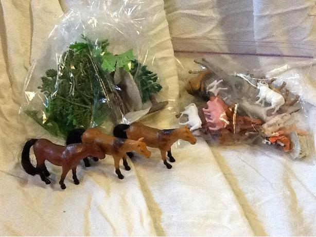 Horses, Trees and Farm Animal Plastic Figurine Lot