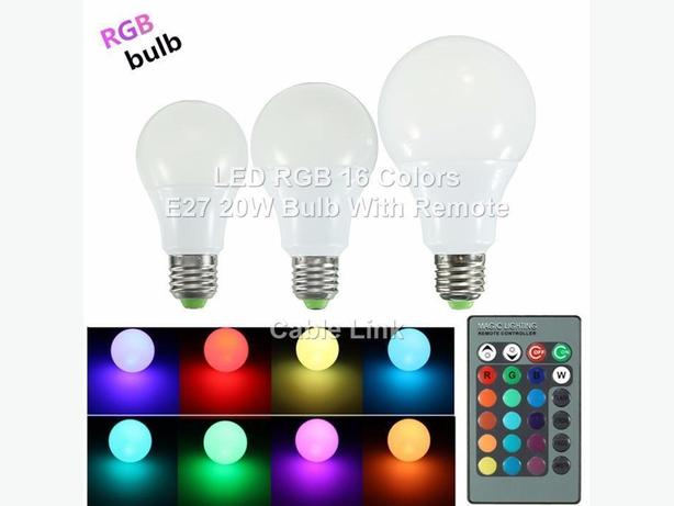 20W E27 16 Color RGB LED Spot Light Bulb IR Wireless Remote