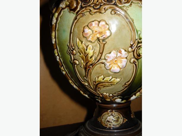 4U2C ANTIQUE BURGER BRENNER ENAMELED CERAMIC FRENCH OIL LAMP
