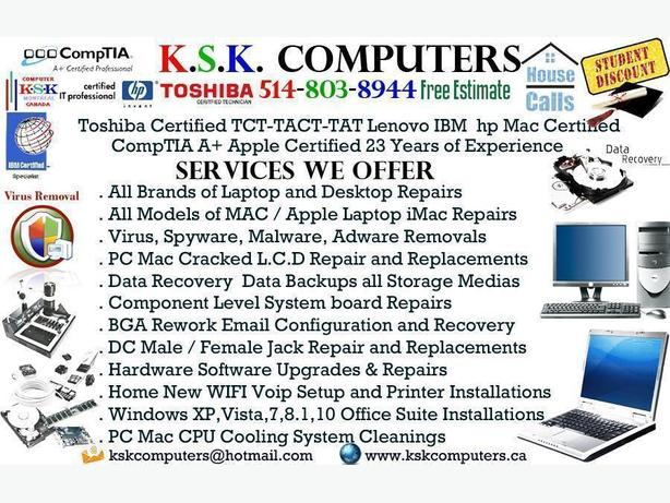 PC Computer Repair LCD Screen Repair Virus Clean Montreal