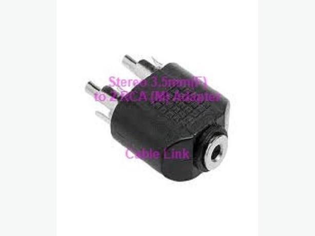 3.5mm (1/8 inch) Stereo Jack (F) to 2 RCA (M) Adapter