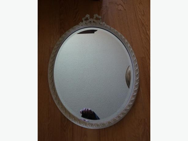 4u2c ANTIQUE OVAL CREAM FRAME BEVELED MIRROR