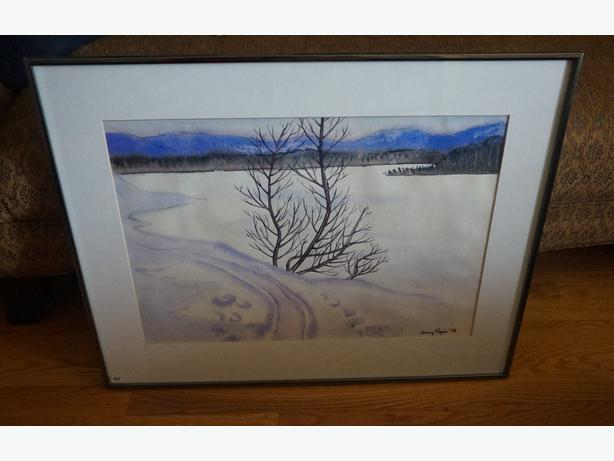 4u2c MARY PEPIN WATER COLOR PAINTING 1978 TITLED SOLITAIRE