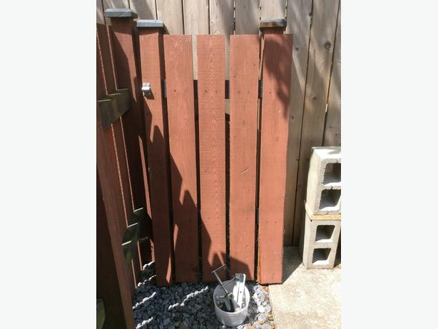 cedar fence section with hardware to make a heavy duty gate