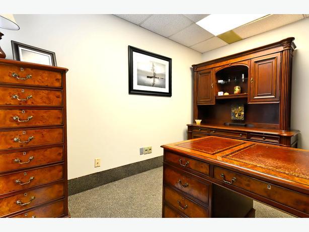 La Credenza In English : Antique english executive burl walnut desk suite filing credenza