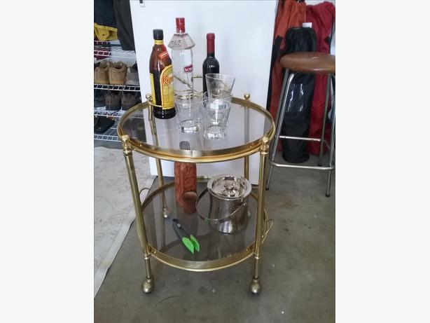 vintage brass and glass barcart