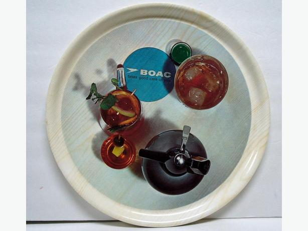 Vintage BOAC drinks tray from the 1960's, melamine/ plastic