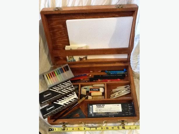 Artist Drawing Kit, Box and Supplies