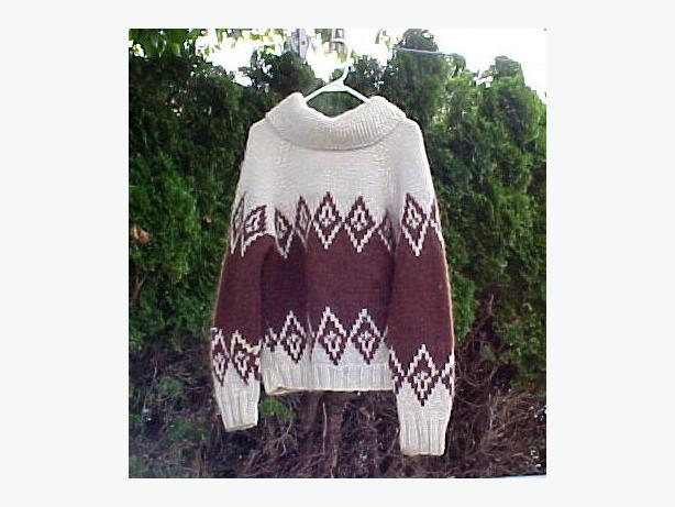 Hand Knit Cowichan Style Cardigan Coat Sweater 100% Wool~Inisex M/L?