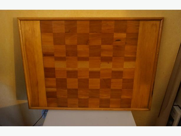4U2C FOLK ART WOOD INLAY CHECKER CHESS BOARD GAME