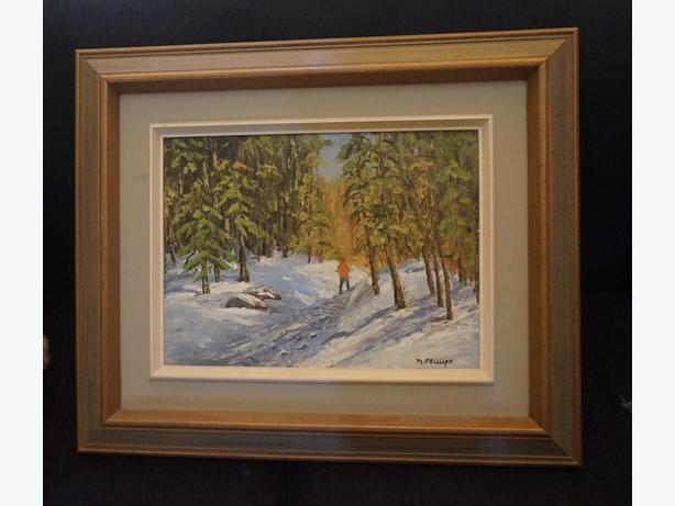 4U2C OIL PAINTING MAN WALKING IN SNOW SIGNED M PHILLIPS