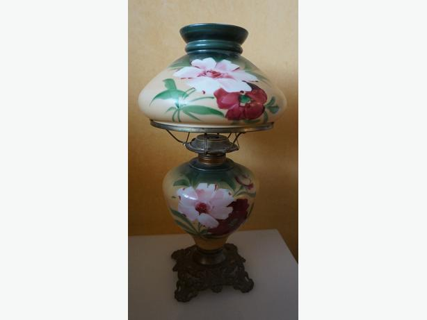 4U2C HAND PAINTED GONE WITH THE WIND PARLOR LAMP GREEN PINK RED
