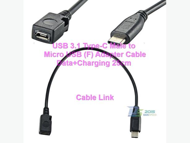 USB 3.1 Type-C (M) Micro USB (F) Port Saver Adapter Cable 25cm