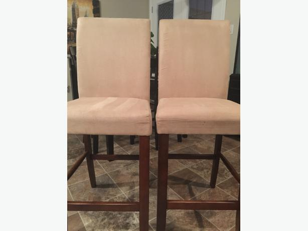 2 wood amp suade island chairs bar stools scotch guarded