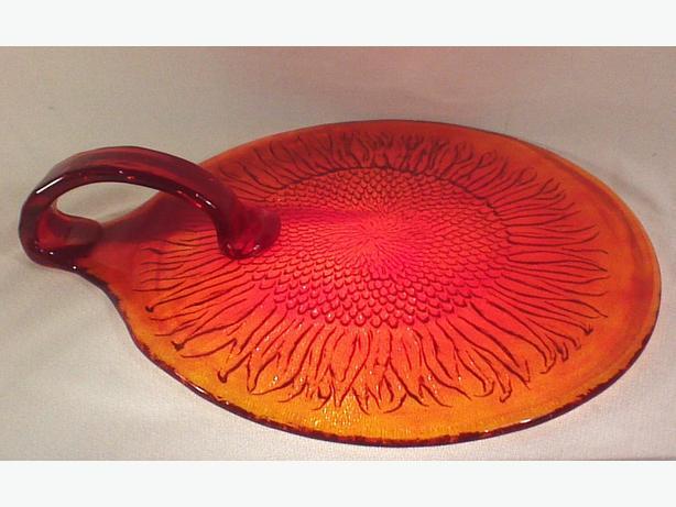 Glass sunflower platter