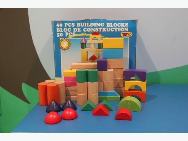 50 Piece Wooden Building Block Set