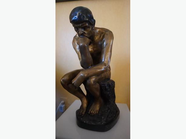 4U2C BRONZE MAN THINKER RODIN MARKED ON BACK
