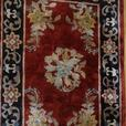 4U2C  SILK and WOOL RUG RED WITH FLORAL MOTIF 3 by 2 feet
