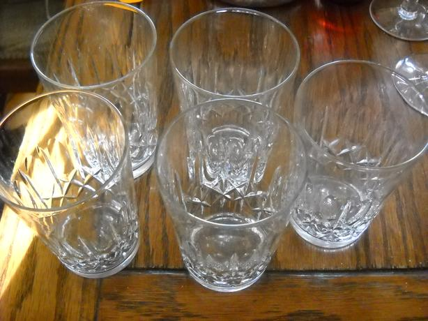 4U2C SET OF 5 CRYSTAL WATER GLASSES, CROSS and OLIVE PATTERN
