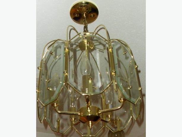 Gold coloured chandelier