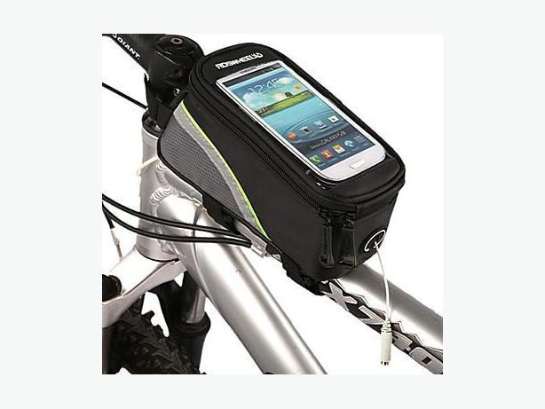 "Bicycle Bike Frame Phone Bag - 1.2L 5.2"" - Black/Green"