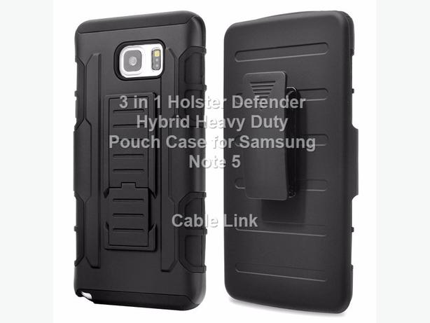 Premium 3 in 1 Armor Hybrid Stand Holster Case for Samsung Note 5