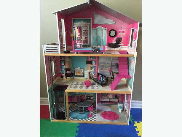Large Wooden Doll House w/ accessories