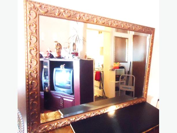 Large Gold Mirror (Wood Frame - Brushed Gold Finish) - $385