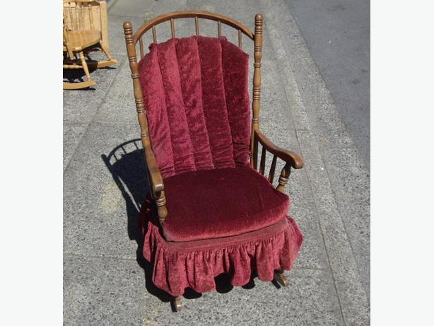 Burgundy Velvet Padded Wood Framed Rocking Chair