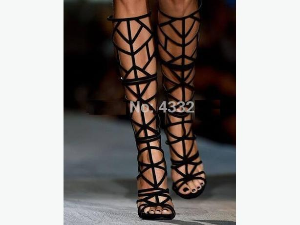 New Black Gladiator Summer Sandals Knee High