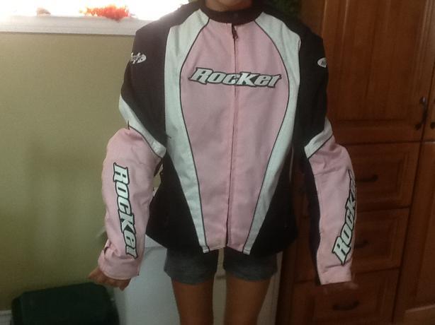 Women's motorcycle jacket and helmet