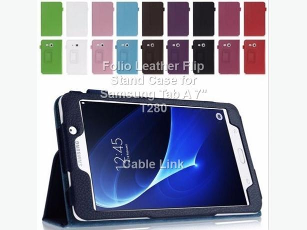 "Folio Leather Case Stand for Samsung Galaxy Tab A 7"" T280"
