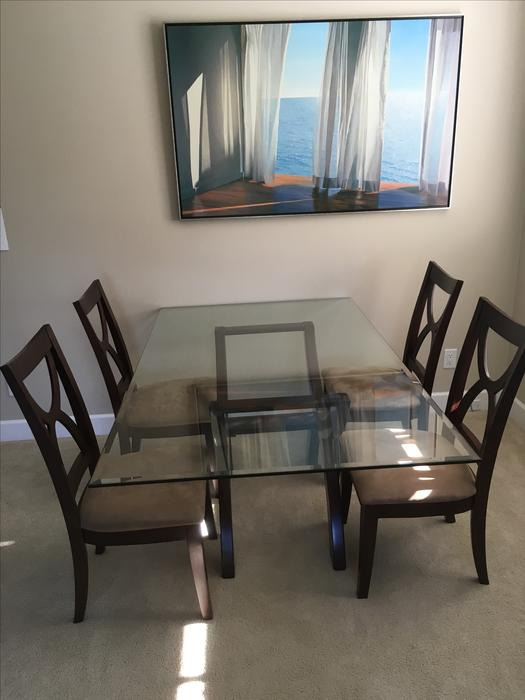 BEAUTIFUL SWISS DESIGN GLASS DINING ROOM TABLE AND CHAIR  : 54014476934 from www.usedvictoria.com size 525 x 700 jpeg 39kB