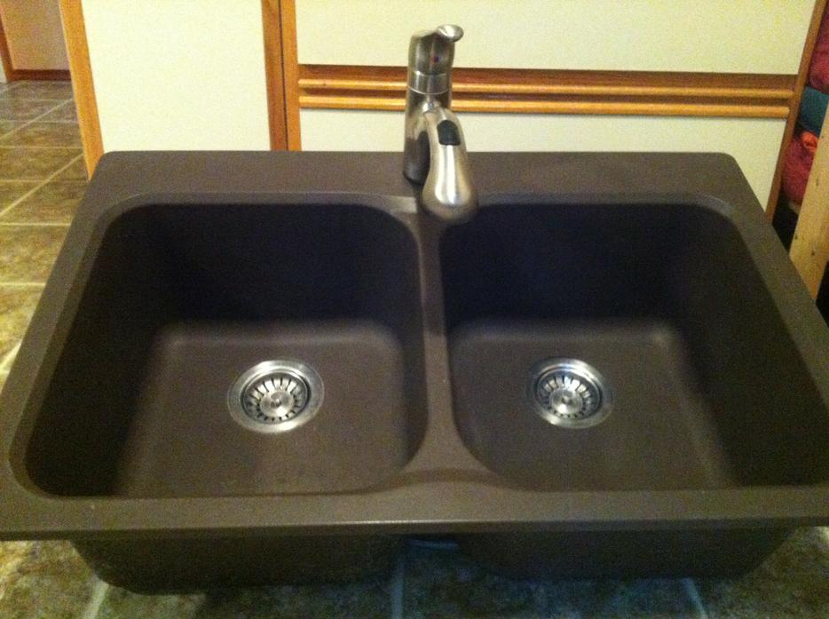 Coffee coloured kitchen sink and moen faucet courtenay for Coloured kitchen sinks